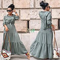 Жіночий стильний костюм довгий сарафан в підлогу розкльошений з сорочкою р-ри 42-48 арт. 903