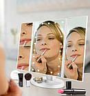 Зеркало для макияжа  тройное Superstar Magnifying Mirror с LED-подсветкой прямоугольное с увеличением ОПТ, фото 7