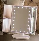 Зеркало для макияжа  тройное Superstar Magnifying Mirror с LED-подсветкой прямоугольное с увеличением ОПТ, фото 9