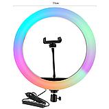 Кільцева Кольорова лампа 30 см RGB + штатив 2 м. Кругла лампа. LED лампа. Світлодіодна лампа, фото 3