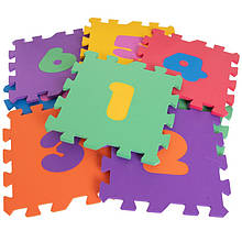 Мягкий коврик-пазл EVA для детей с цыфрами 14 элементов 1,0 м2, 30х30 см, т. 8-10 мм