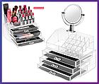 Органайзер для косметики акриловый Cosmetic Organizer с зеркалом и тремя ящиками для хранения ОПТ, фото 6