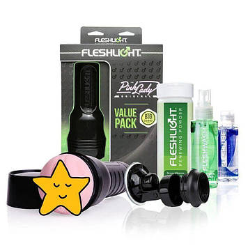 Мастурбатор Fleshlight Pink Lady Original Value Pack: присоска, смазка, чистящее и восстанавливающее Bomba💣