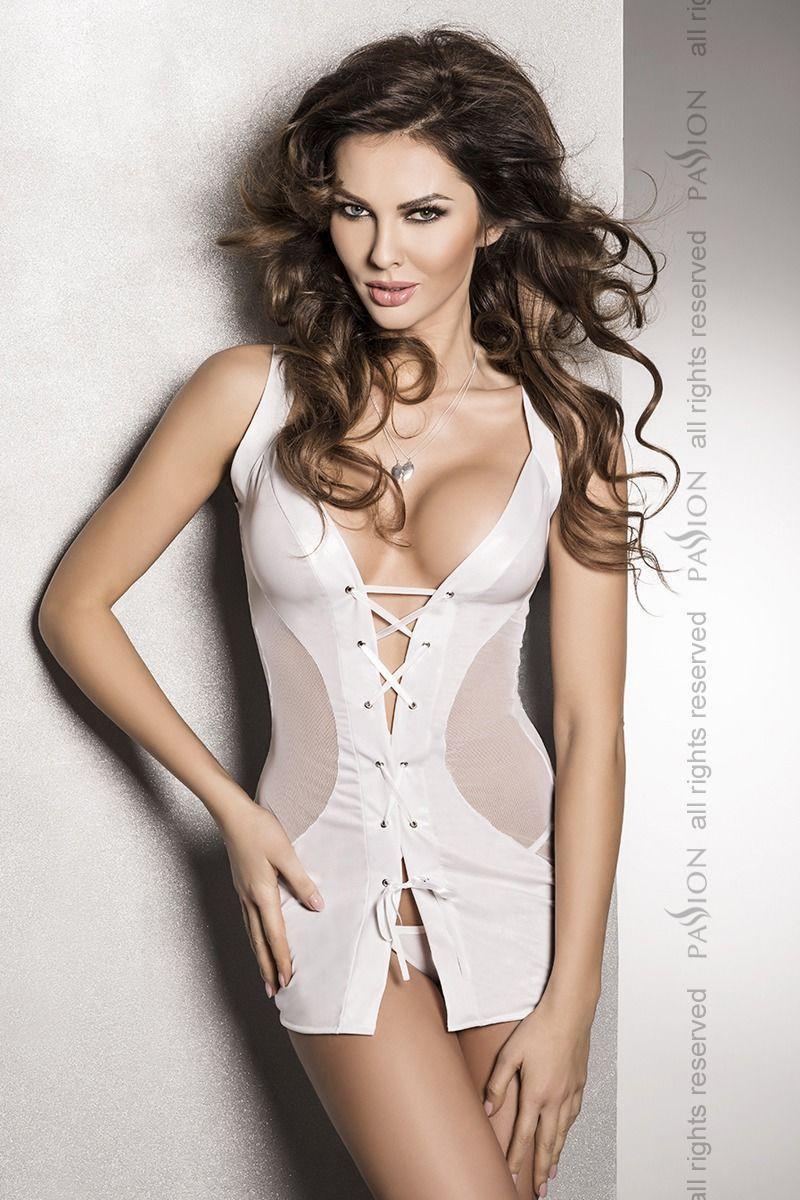 Сексуальная женская сорочка - платье Passion DONATA CHEMISE белая, Белый Bomba💣