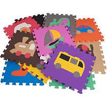 Мягкий коврик-пазл EVA для детей с транспортом 12 элементов 1,08 м2, 30х30 см, т. 10 мм