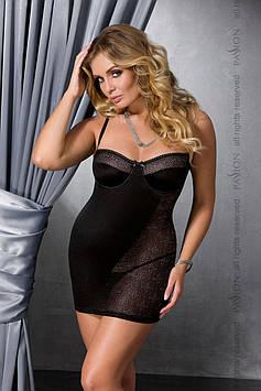 (SALE) Сорочка приталенная CAROLYN CHEMISE black 4XL/5XL - Passion, трусики Bomba💣