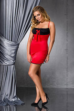 Сорочка приталенная с открытой спиной LENA CHEMISE red 6XL/7XL - Passion, трусики Bomba💣