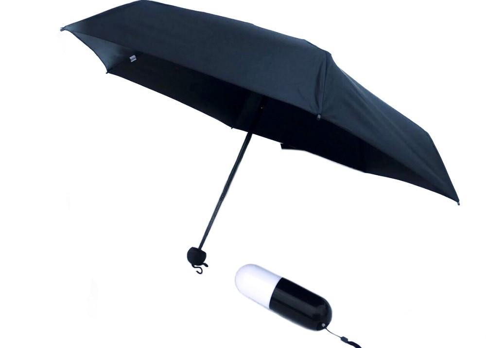 Компактный зонтик-капсула черного цвета 6752