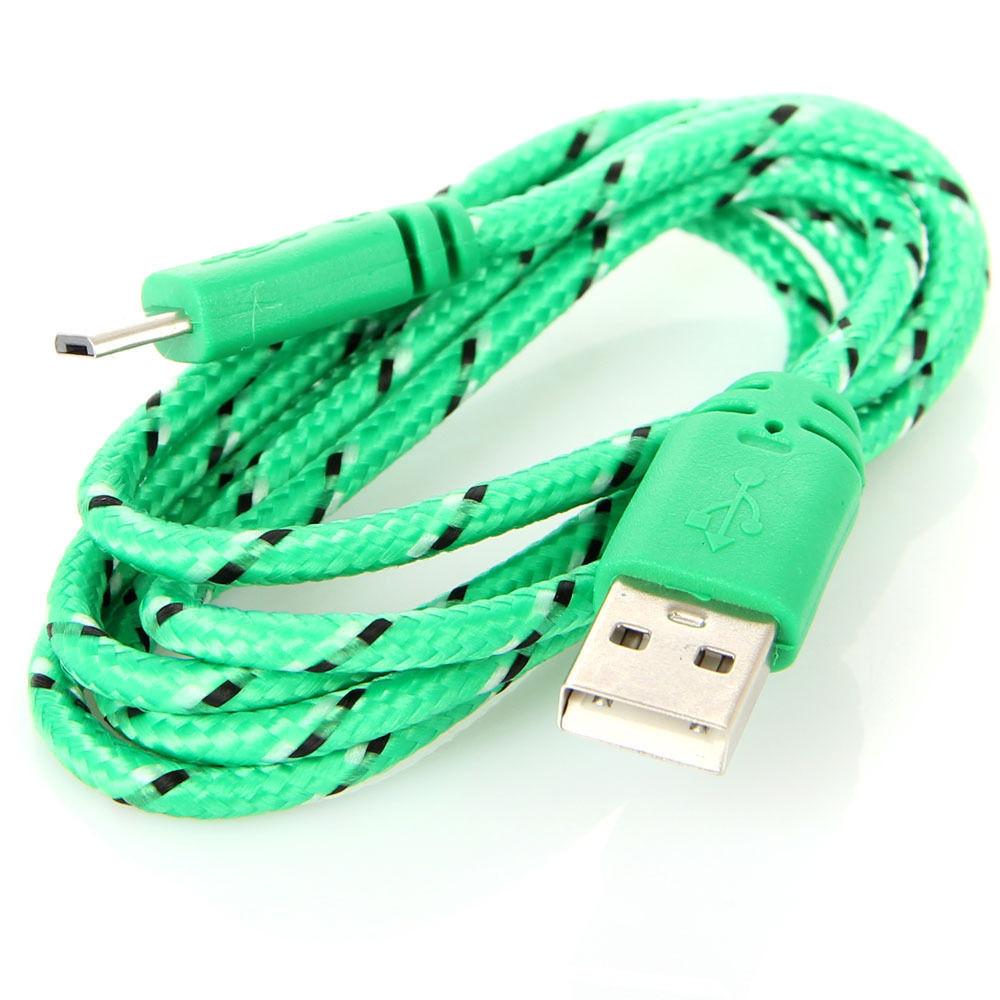 Тканинний кабель Micro USB шнур - USB 1 метра різні кольори