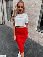 Прогулянковий костюм жіночий річний футболка-топ і спідниця олівець по коліно р-ри 42-46 арт. 10134