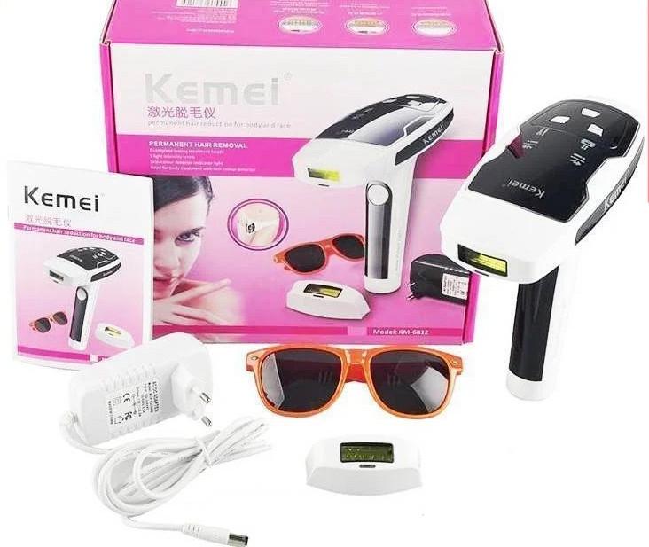 Портативний лазерний епілятор (фотоепілятор) Kemei KM 6812 для обличчя і тіла
