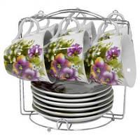 Набор чайный: 6 чашек 220 мл + 6 блюдец Фиолетовые цветы Оселя