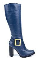 Синие зимние сапоги женские кожаные на каблуке