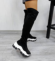 Черные замшевые ботфорты на платформе, фото 1