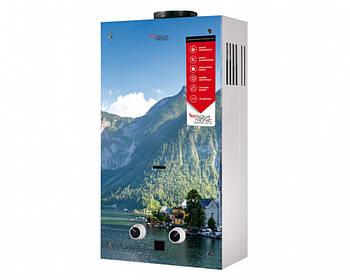 Водонагрівач проточний газовий димохідний JSD20-AG208 10 л/хв скло (гори) Aquatronic