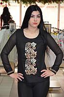 Черная женская вышиванка с гипюровым рукавом
