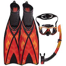 Набор для плавания маска с трубкой и ластами Zelart M243S-SN120S-F06 (термостекло, силикон, пластик, PU,