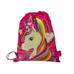 Детский рюкзак с рисунком (Rainbow Pony)  Цвет Розовый (36x28)