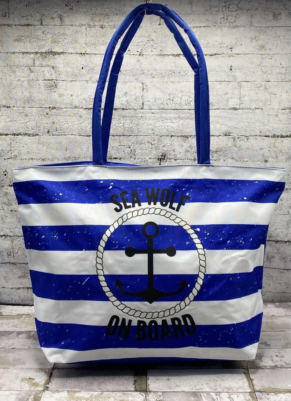 "Пляжна сумка ""Anchor style"" Синій в смужку (50х34х16 )"