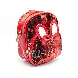 """Рюкзак с ушками""""PLi""""Цвет:Красный  (18*15*7)"""
