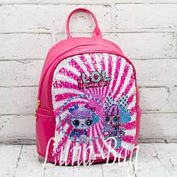 Детский рюкзак перевертыш с пайетками Lol/Unicorn.Цвет:Малиновый  2