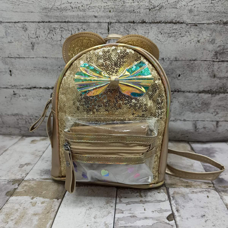 Дитячий рюкзак з круглими вушками. Колір: Золото (22х16х10)