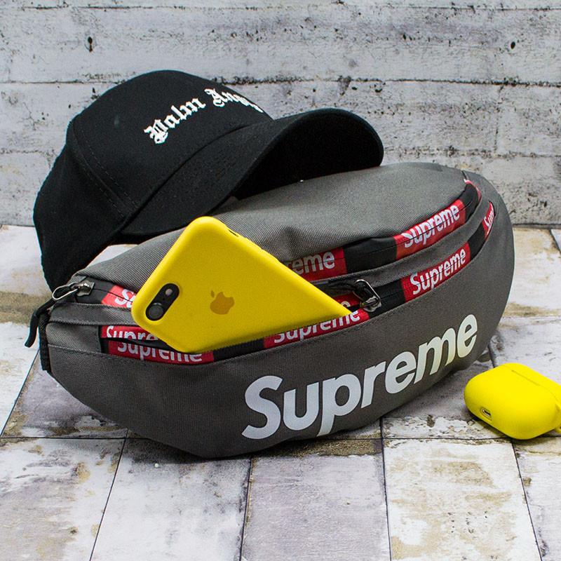 """Сумка на пояс (Бананка) """"Supreme"""" 4 Кольори Сірий (15*33)"""