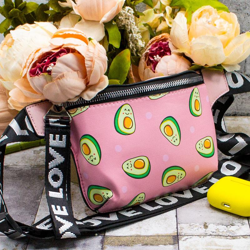 """Сумка на пояс (Бананка) """"Avocado"""" 9 Кольорів Рожевий Front"""