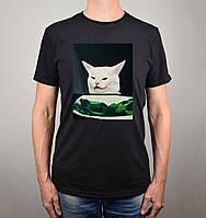 """Футболка чоловіча з накаткою """"Salad Cat"""". Чорний колір. №01. (Роздріб)."""