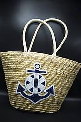 Пляжная плетенная сумка ЯКОРЬ