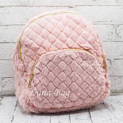 Стеганный плюшевый рюкзак  3 Цвета Розовый. (32*29*13)