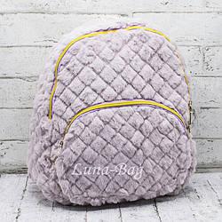 Стеганный плюшевый рюкзак  3 Цвета Фиолетовый. (32*29*13)