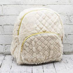 Стеганный плюшевый рюкзак 3 Цвета Бежевый.. (32*29*13)