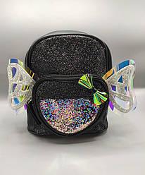 Детский рюкзак с крыльями 4 цвета - черный  (21*11*23 см)