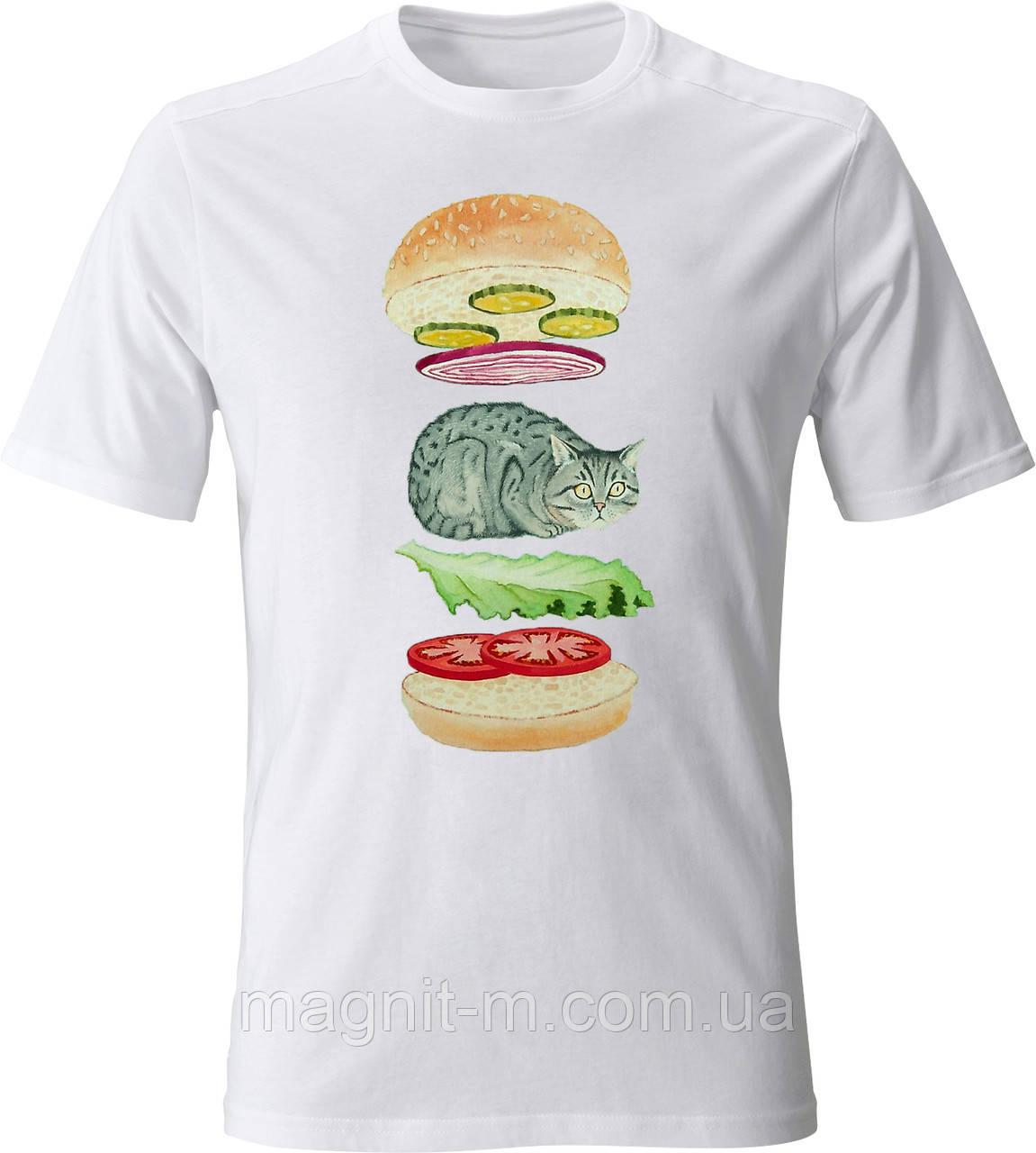 """Футболка мужская с накаткой """"Burger Cat"""".  Белый цвет. №01. (Розница)."""