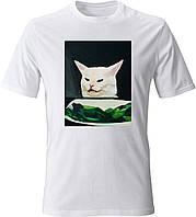 """Футболка чоловіча з накаткою """"Salad Cat"""". Білий колір. №01. (Роздріб)."""