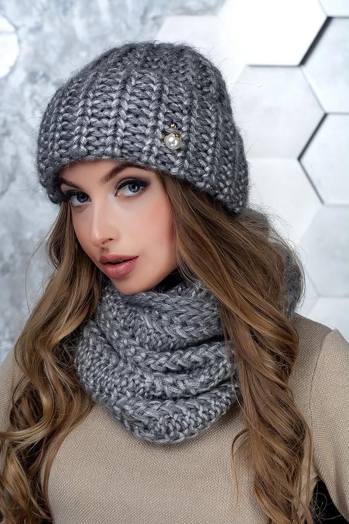 Комплект (шапка и снуд-хомут) Flirt Манго One Size серый1015