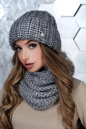 Комплект (шапка и снуд-хомут) Flirt Манго One Size серый1015, фото 2