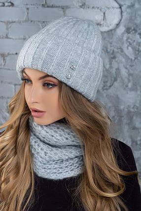 Комплект (шапка и снуд-хомут) Flirt Лика-Морган One Size дым1016, фото 2