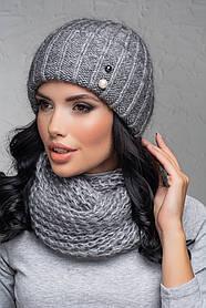Комплект (шапка и снуд-хомут) Flirt Лика-Морган One Size среднесерый 1016