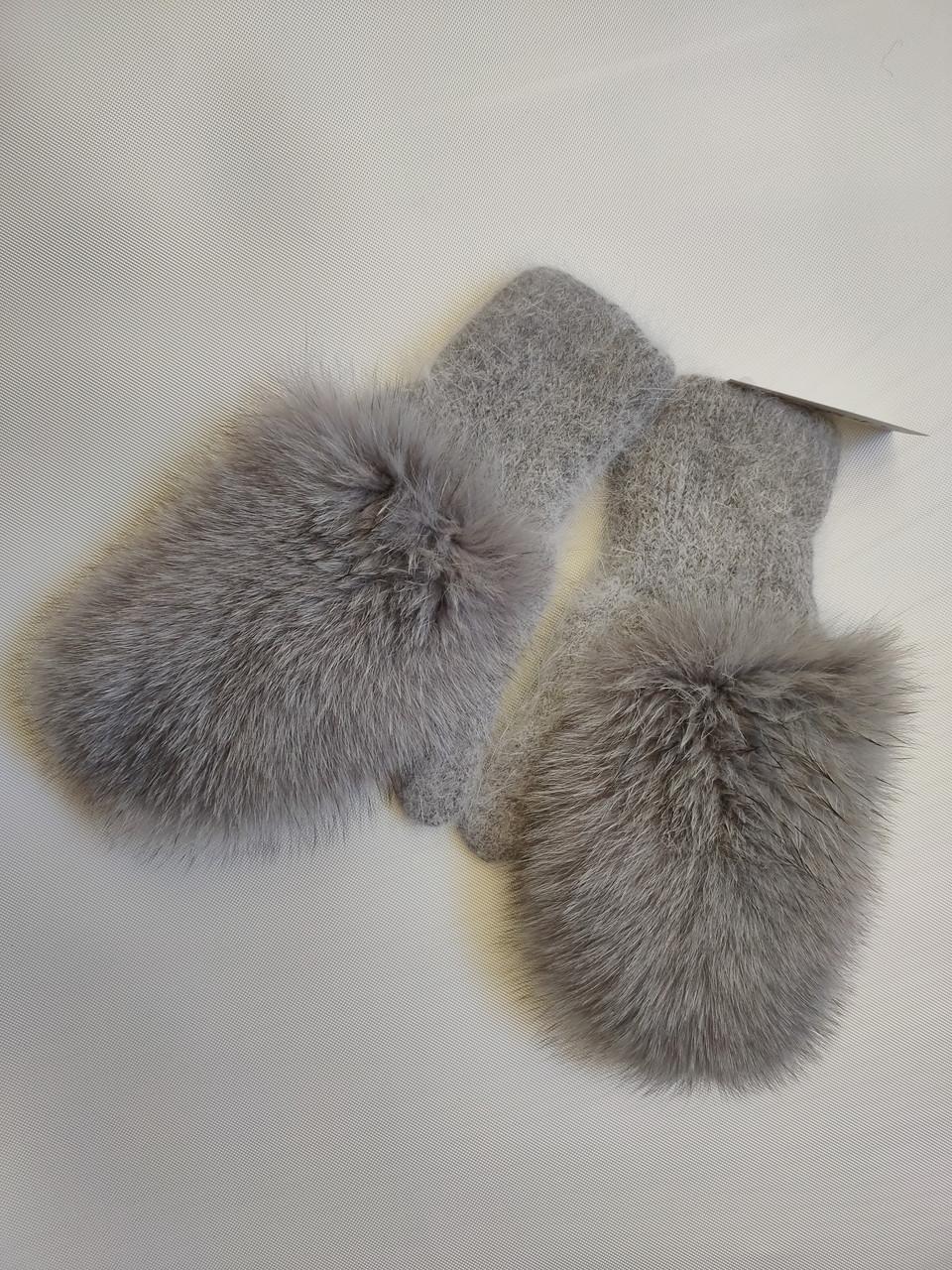 Варежки с мехом  песца ODYSSEY 44543 светло-серый