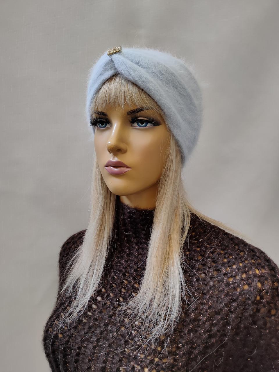 Повязка на голову из  ангоры YUAN MENG 0350 голубой