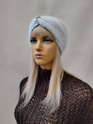 Повязка на голову из  ангоры YUAN MENG 0350 голубой, фото 2