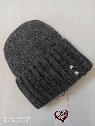 Женская шапка с отворотом Flirt Персия One Size   темно - серый 1018, фото 2