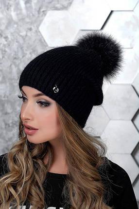 Шапка женская Александра 3328  с помпоном  черный, фото 2