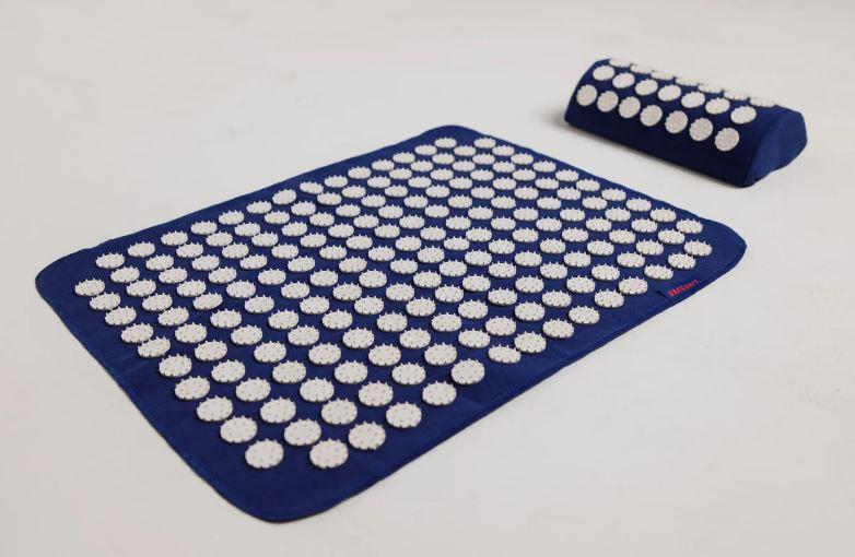 Масажний килимок акупунктурний з подушкою для спини (синій)