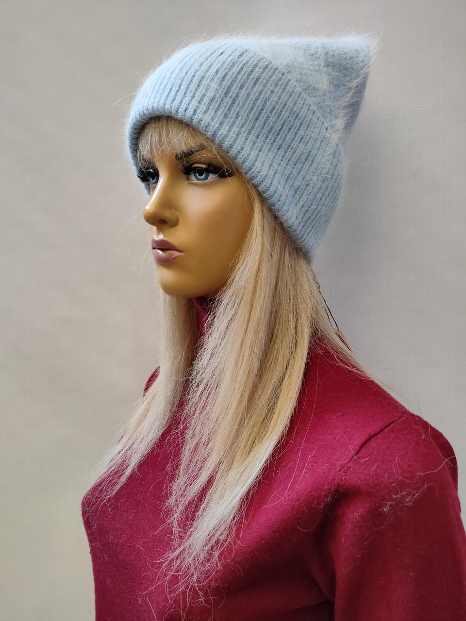 Шапка из ангоры Лорен FAN CAP 0250  голубой