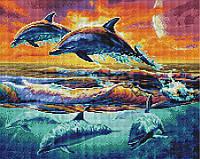 Алмазна мозаїка 40*50 Зграя дельфінів BrushMe