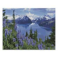 Алмазна мозаїка 40*50 Альпійський гірський пейзаж Strateg