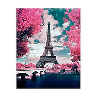 Алмазна мозаїка 40*50 Ейфелева вежа в цвіту дерев Strateg